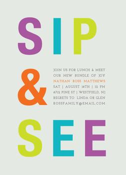 simple sip & see Baby Shower Invitations