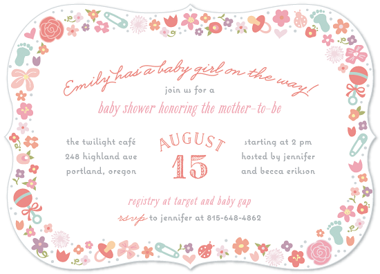 baby shower invitations - Floral Baby Border