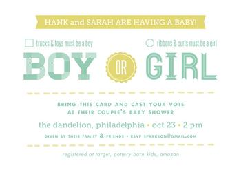 what's it gonna be? Baby Shower Invitations