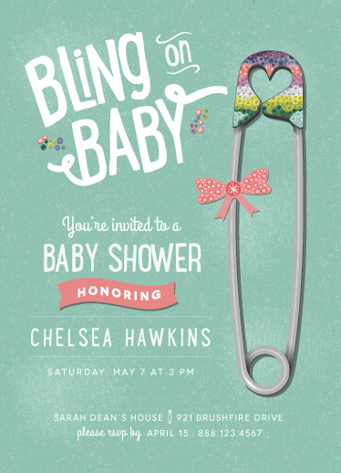 baby shower invitations - Bling on Baby by JoBeth Fink