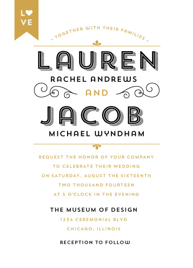 wedding invitations - Gold Love Label by Gakemi Art+Design