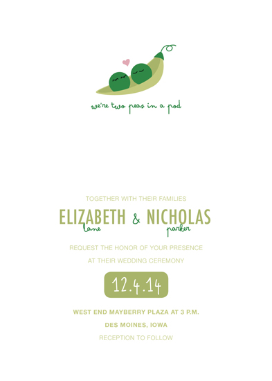 Wedding Invitations Two Peas In A Pod By Lindsay Timmons
