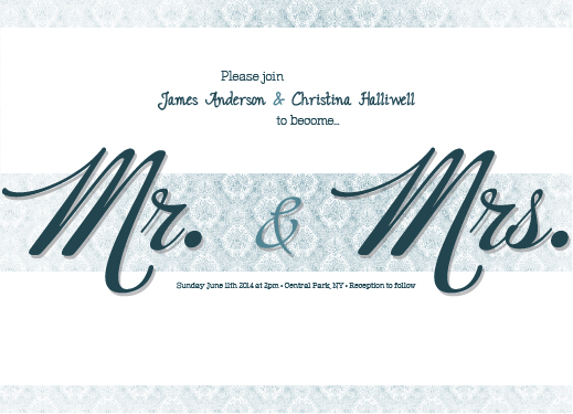 Wedding Invitations Mr Mrs Blue Wallpaper By Simone Verwer
