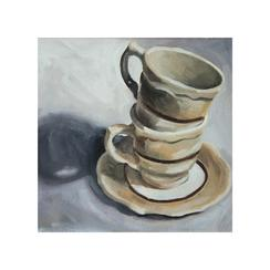 Stacked Coffee Still Life in Oil