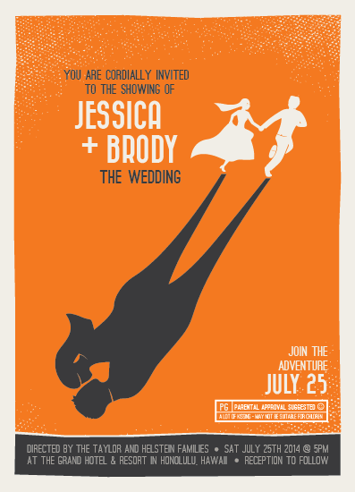 wedding invitations - Retro Movie Poster by bumble ink
