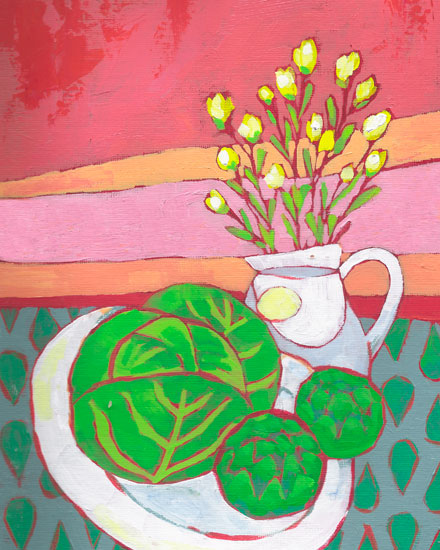 art prints - Still Life in Pink and Green by Rebecca Turner