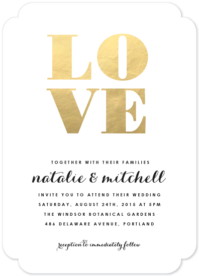 wedding invitations - Gold Love