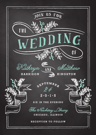 wedding invitations floral chalkboard at