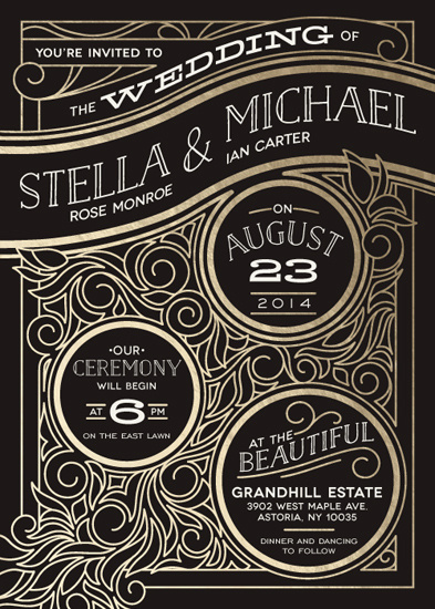 wedding invitations - Antique Lines by GeekInk Design