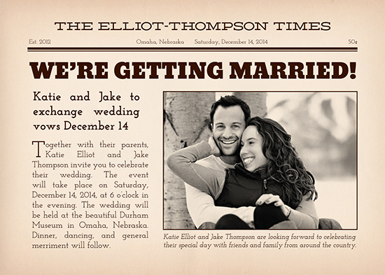 wedding invitations - Extra! Extra! by Iron Range Artery