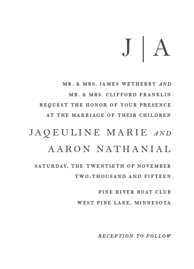 wedding invitations - Sophistotype by Snow and Ivy