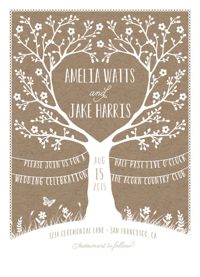 wedding invitations - Kraft Woodland Tree by Gakemi Art+Design
