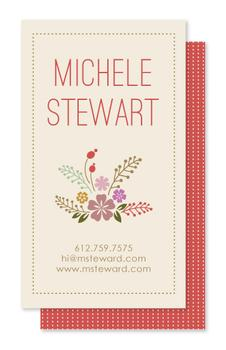 Flowers and dots Business Cards