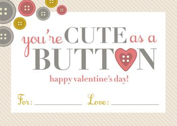 Cute As A Button Valentine's Day