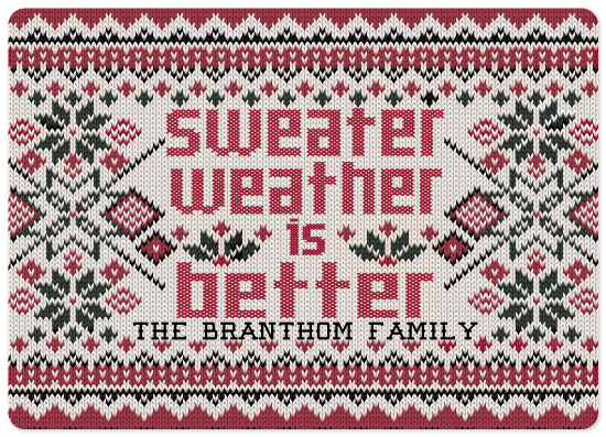 non-photo holiday cards - Sweater Weather