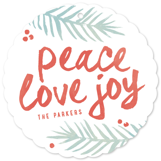 holiday ornament cards - Brushed Peace Love Joy