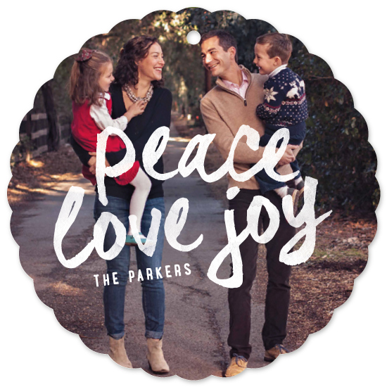 holiday ornament cards - Bold Peace Love Joy