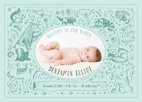 birth announcements - Woodland Animals