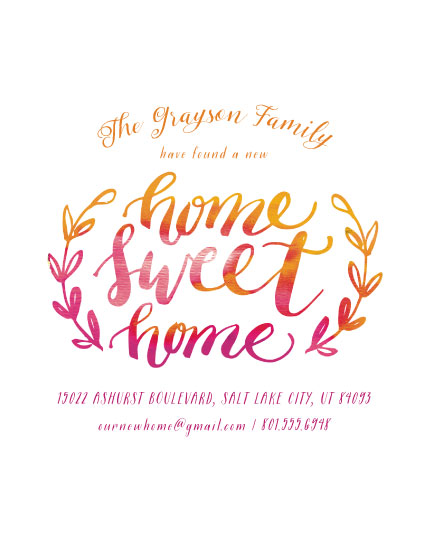 moving announcements - Watercolor Home Sweet Home by Muffin Grayson