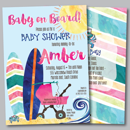 baby shower invitations - Bohemian Beach Baby On Board