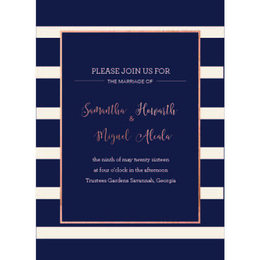Wedding invitations navy striped wedding at mintedcom for Minted navy wedding invitations