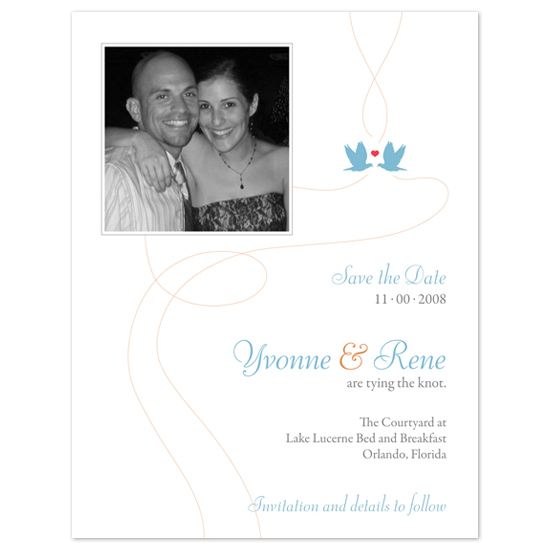 save the date cards - Love Birds Swirl by Cococello