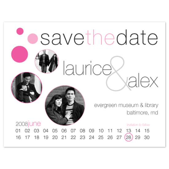save the date cards - cherry blossom circles by j. ethan duran