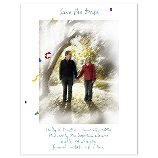 save the date cards - Confetti vignette by Frank Wing Design Wing