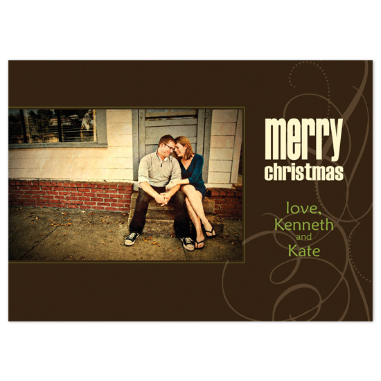 holiday photo cards - brown with block christmas by brandianndesigns
