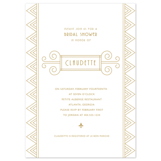bridal shower invitations - gilded art deco by Guess What Design Studio