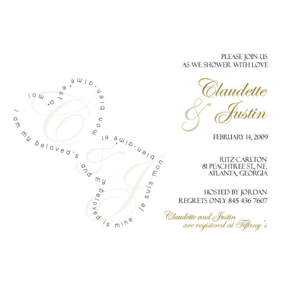 bridal shower invitations - I am my beloved's by Grafik Expressions