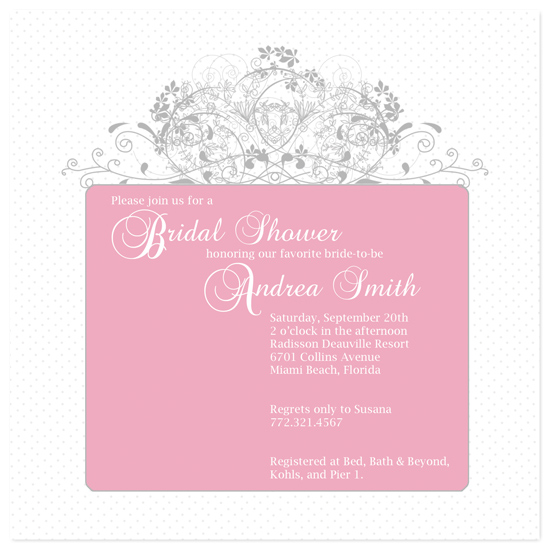 bridal shower invitations pink and silver present by kristy fischer