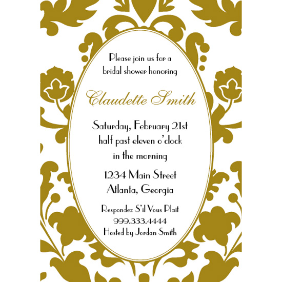 bridal shower invitations - Gold Toile by Jennifer Jerhoff Telford