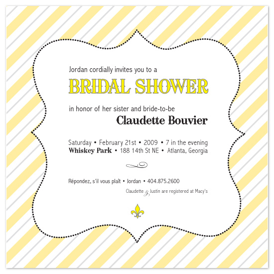 bridal shower invitations - Yellow Moulin Stripes by Chamelle Designs