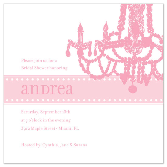 Bridal Shower Invitations Pink Chandelier By Paperwink