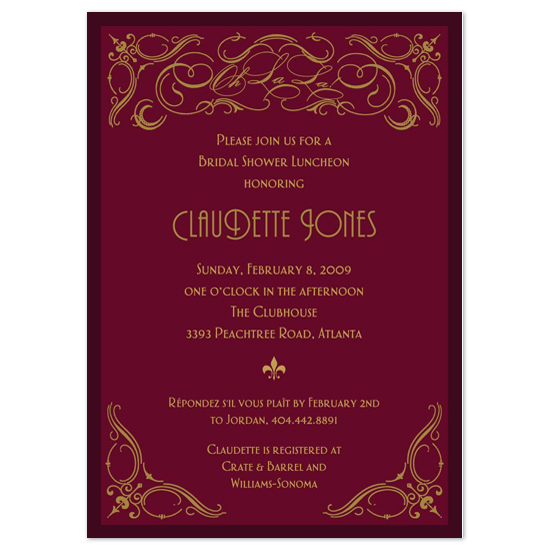 bridal shower invitations - French Soirée by Patty Flores