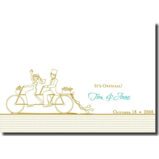 thank you cards - Couple on bike by Jennifer Jerhoff Telford
