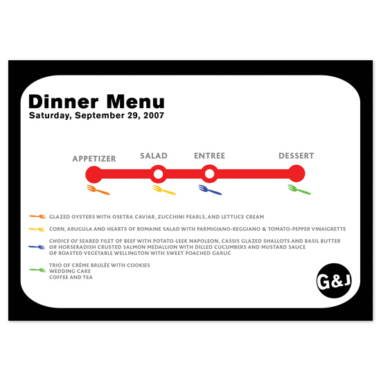 menu cards - Dinner Map by Fred Designs