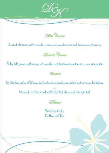menu cards - Tropical Treats by Hailey