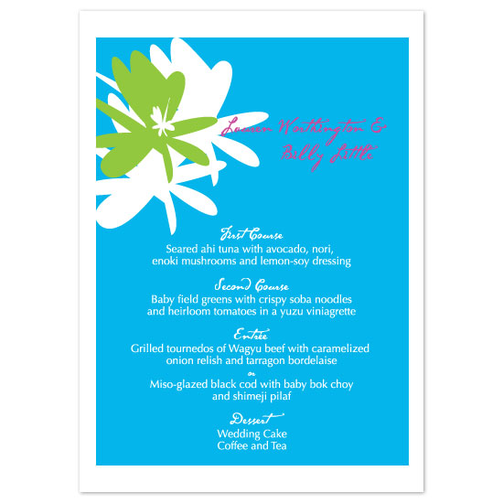 menu cards - Exotic Floral by Weddings and Wellies