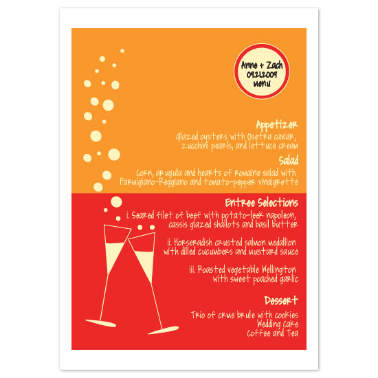menu cards - Wine Bubbles by Weddings and Wellies
