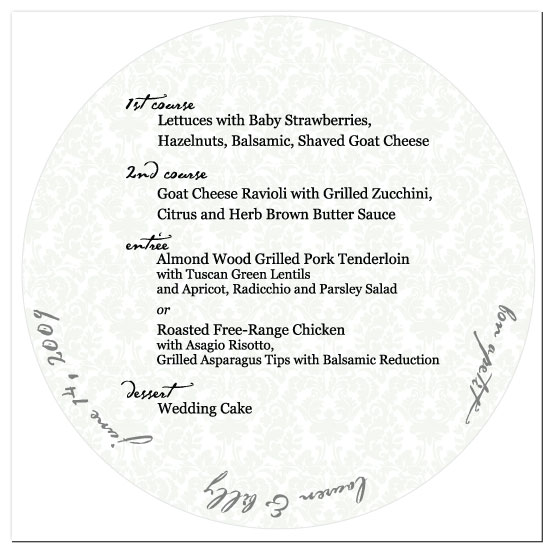 menu cards - Plate Filled Damask by Weddings and Wellies