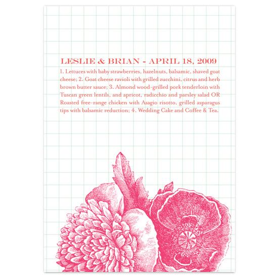 menu cards - Bibliothèque by beth perry DESIGN