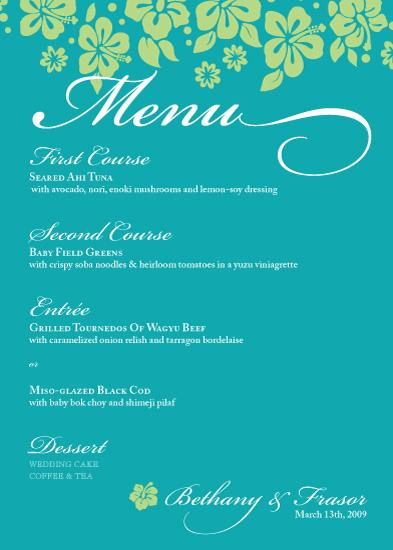 menu cards - Aqua by Sandhya Rao
