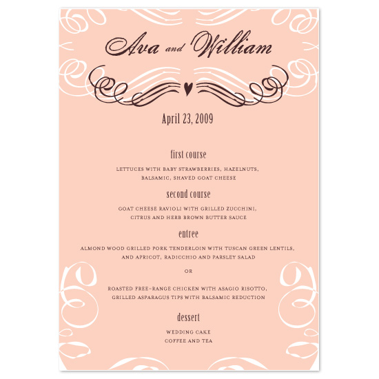 menu cards - Sweet My Sweet by Sarah Pattison