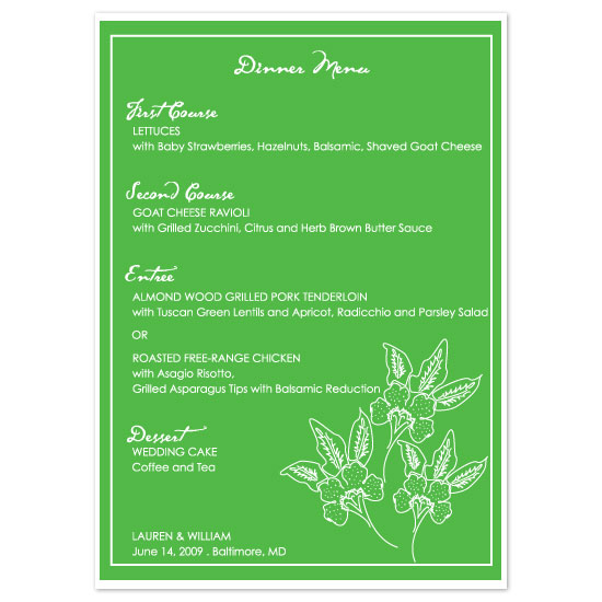 menu cards - Green Orchids by Weddings and Wellies