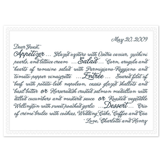menu cards - The Charlotte Letter by Paper Stories