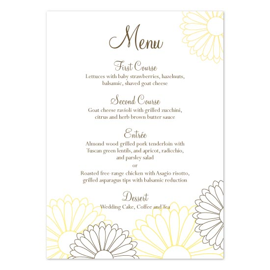 menu cards - Simple Garden Flowers by Linzmarie Designs