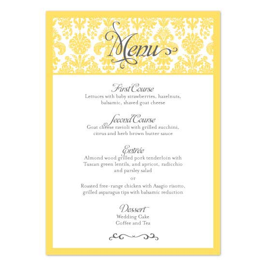 menu cards - Damask Garden by Linzmarie Designs