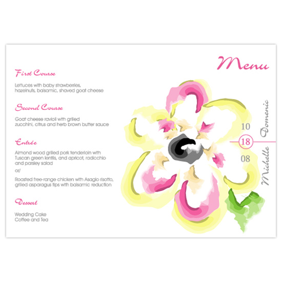 menu cards - Blossomed Flower by Nuevo Designs